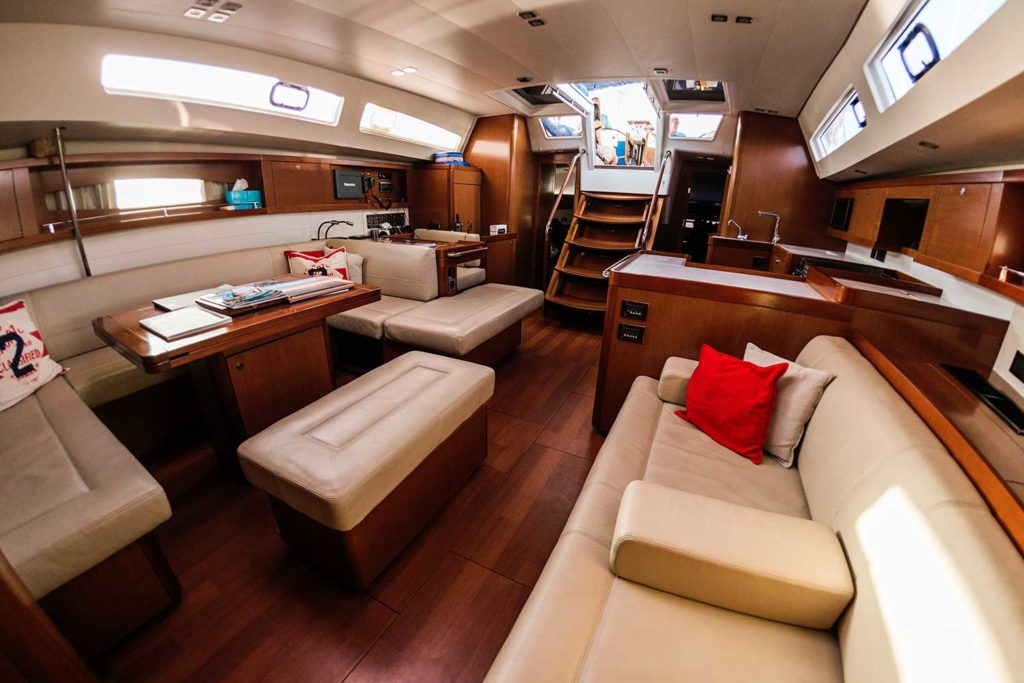 inside view of cabin of luxury yacht