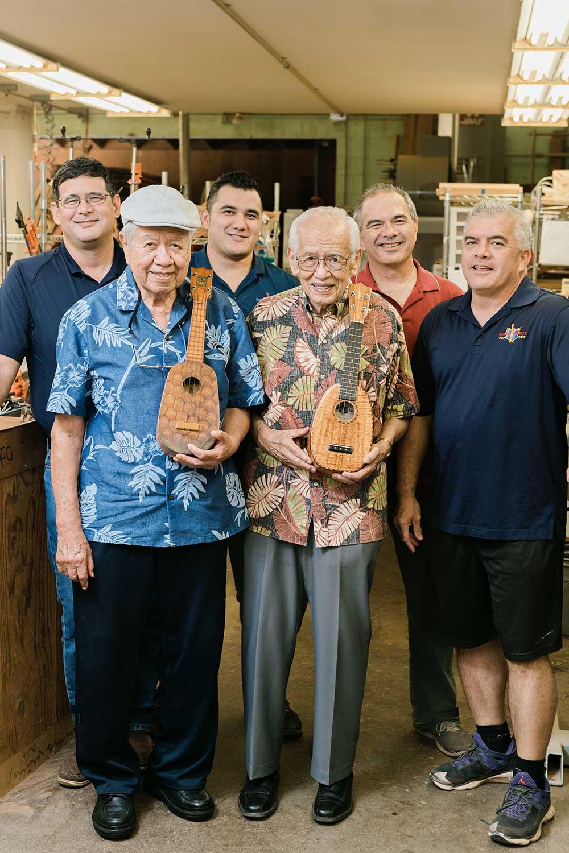 Kamaka family group photo holding ukuleles