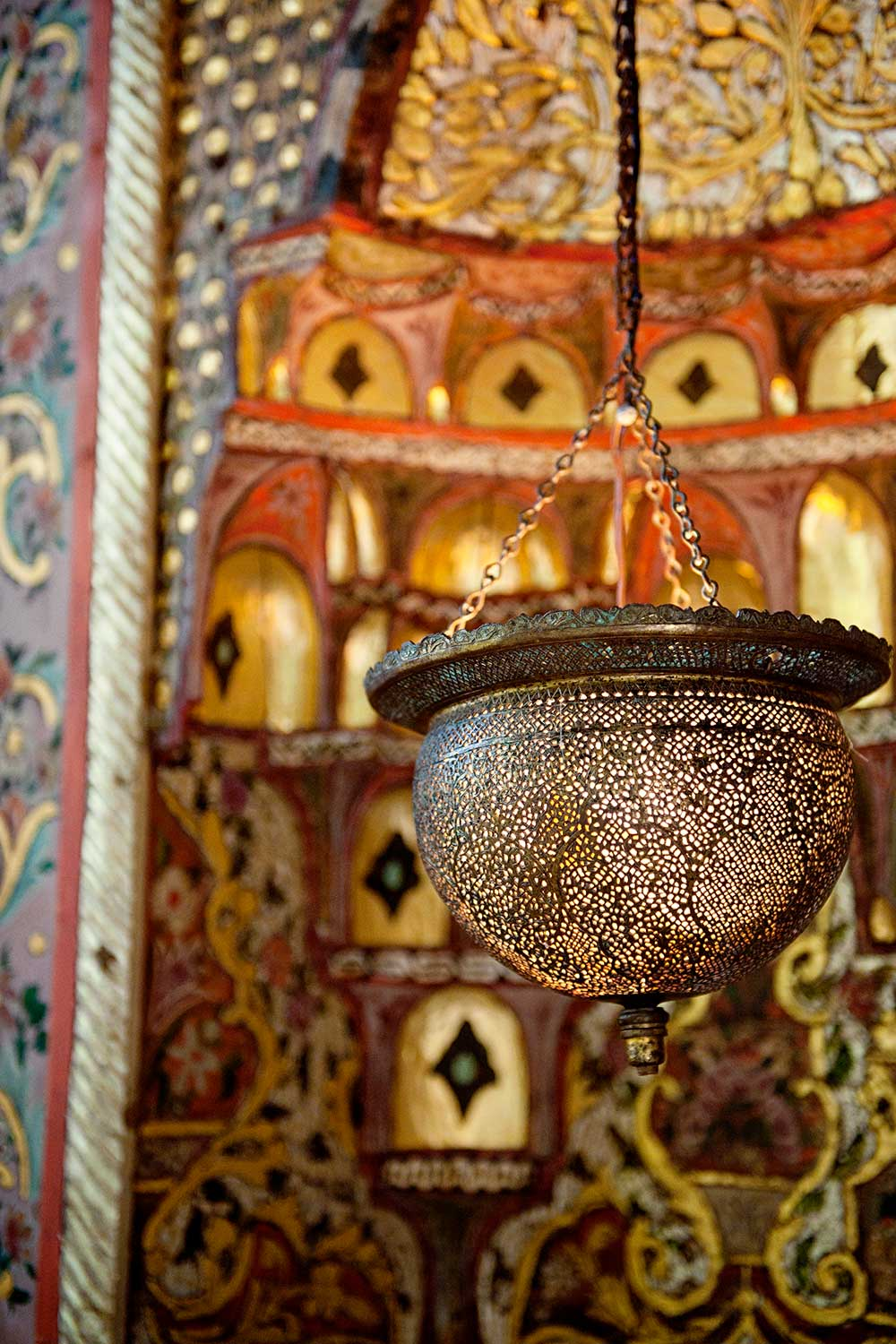 closeup of lamp inside Shangri La Turkish room