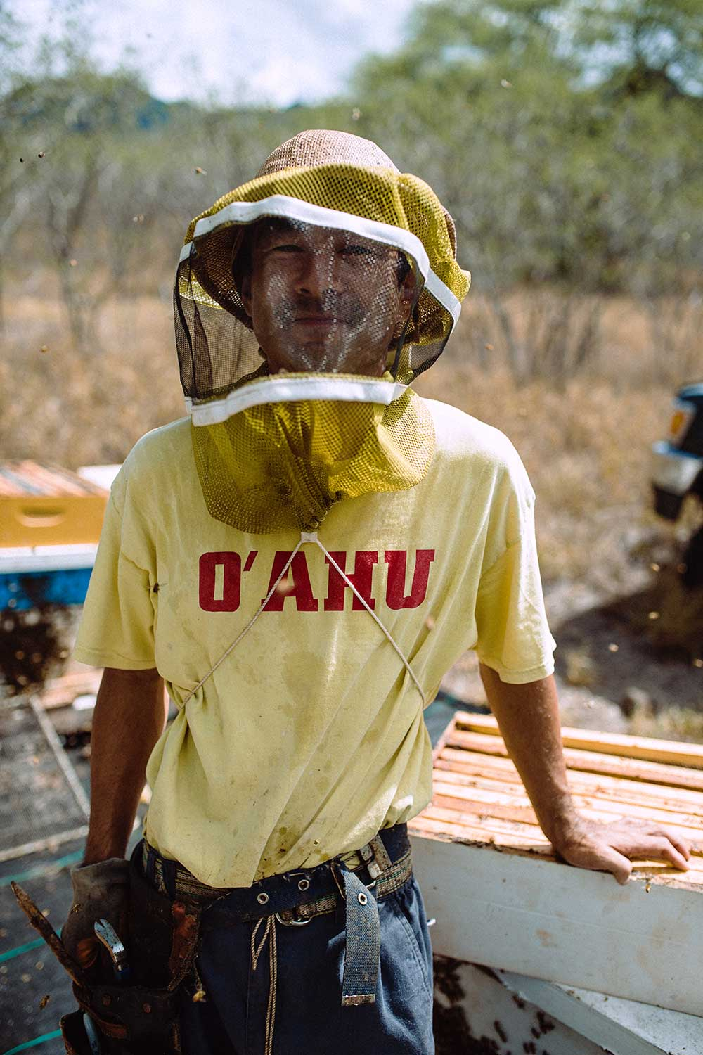 Man in faded yellow shirt with red type that says O'ahu, wears a protective netted had over his face to shield bees