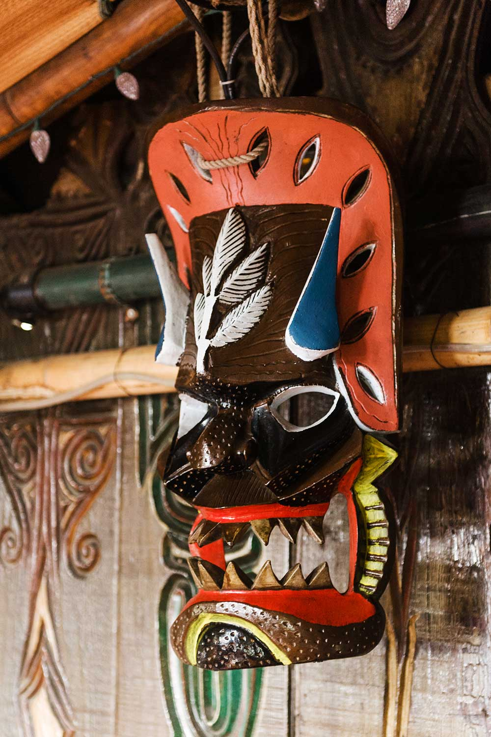 Colorful Wooden Tiki Mask