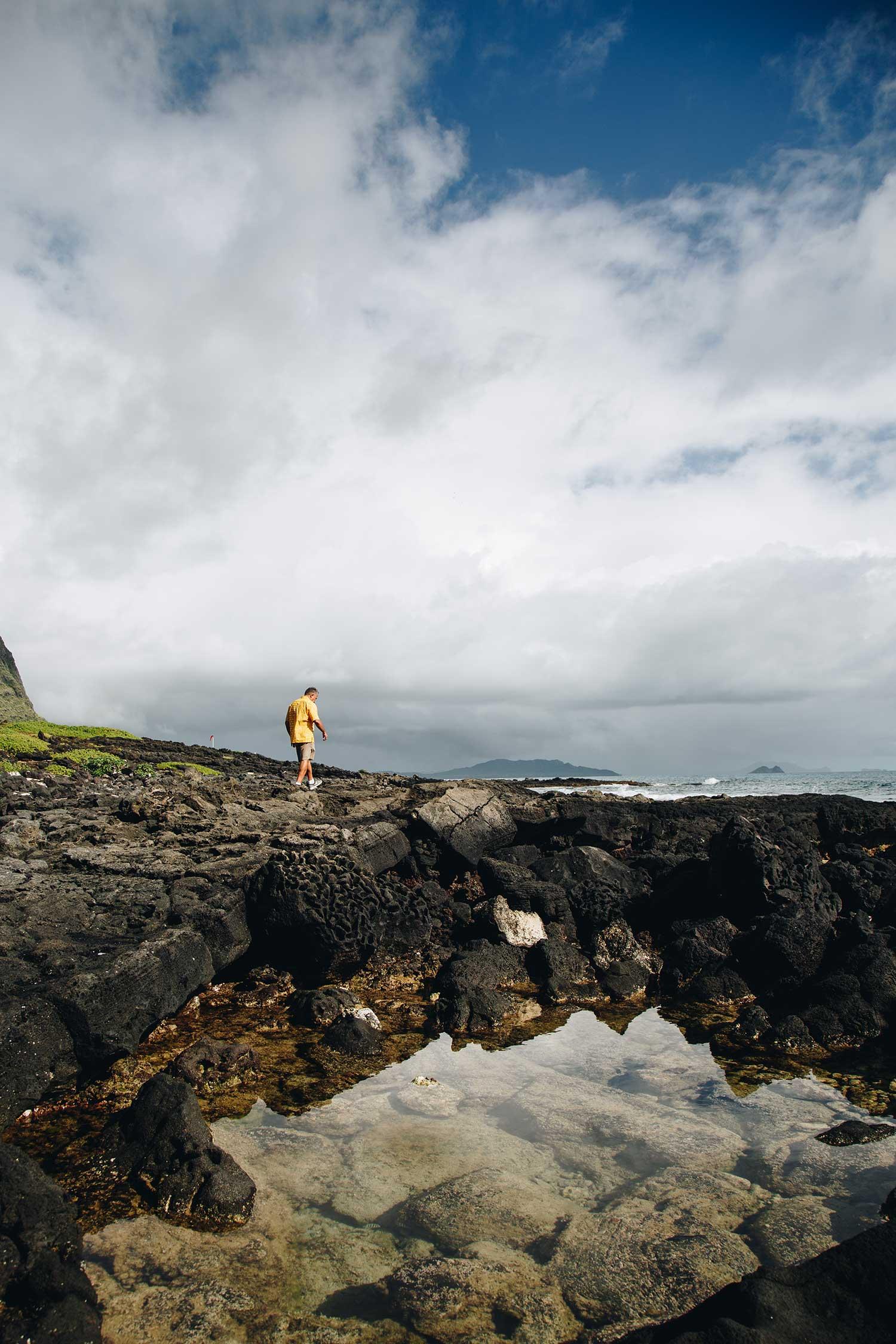 Norman Berg walking the coastline