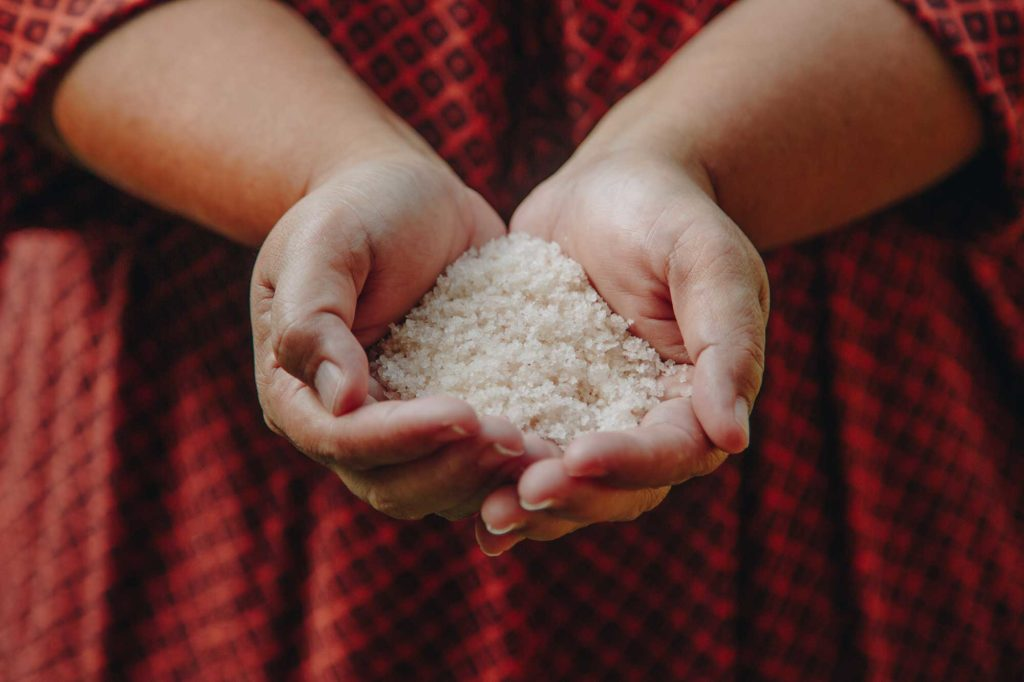 Malia Nobrega-Olivers holding salt