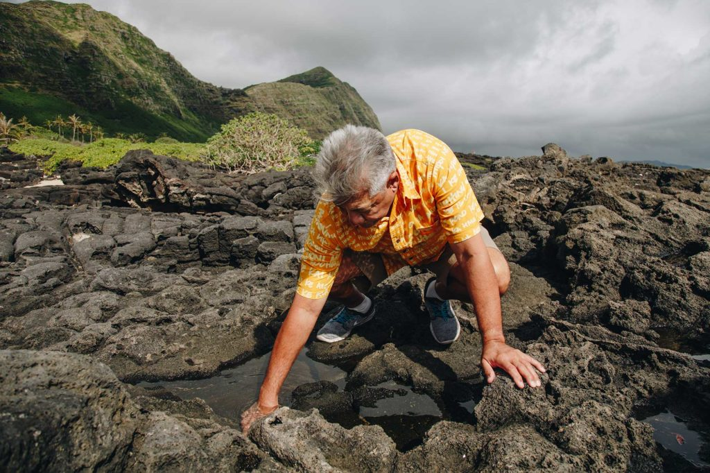 Norman Berg looking for salt along the coastline