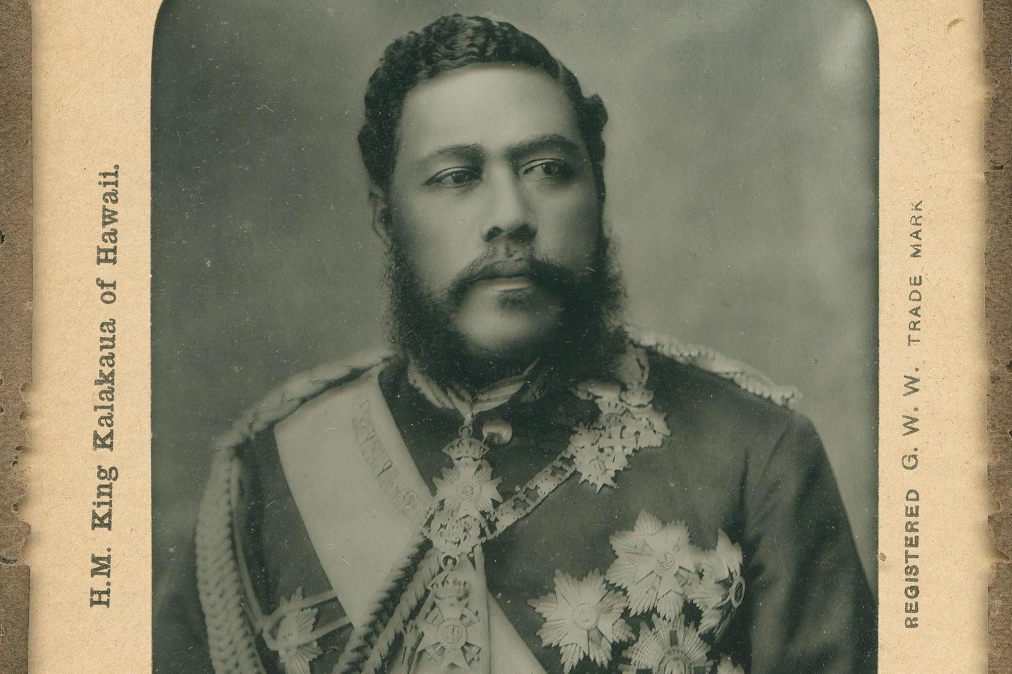 Lantern slide of King Kalākaua of Hawaiʻi, c. 1880.
