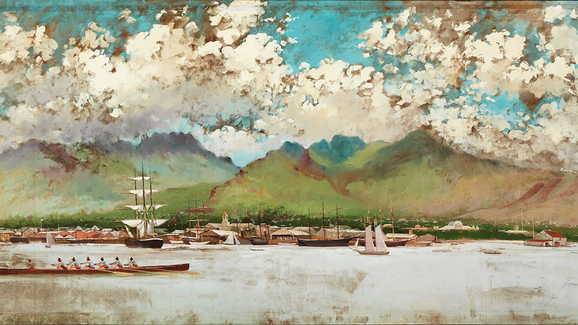 Honolulu Harbor, 1886 by Joseph Strong.