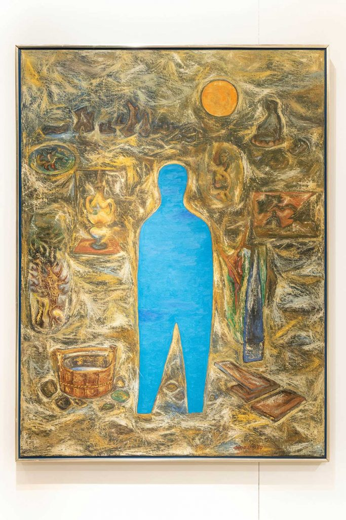 Abstract painting of a blue figure standing in the center of the canvas