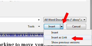 Insert Text as a link