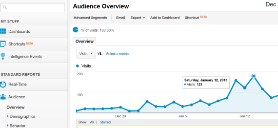 Google Analytics - Audience Overview