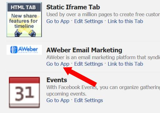 Choose the aWeber Email Marketing App
