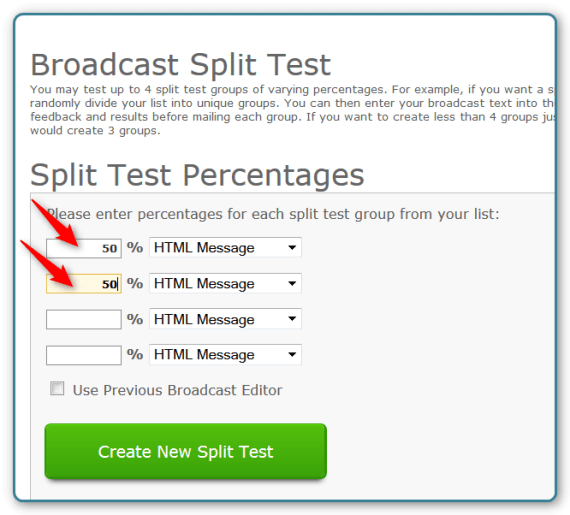 AWeber and WordPress - Broadcast Emails Split Test - Percentage Screen