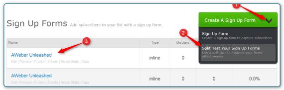 WordPress and AWeber - Split Test Screen