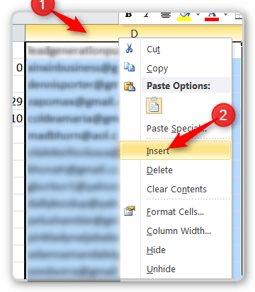RTM and CRM Create a blank column