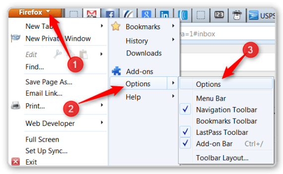 Firefox tips - options menu