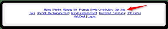 JV Giveaway - Get Gifts Menu Option