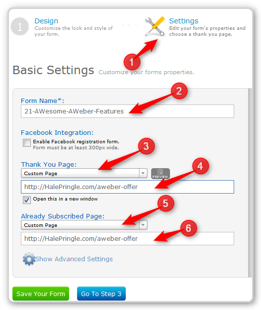AWeber Setup Page - Send Subscribers to a Custom Page