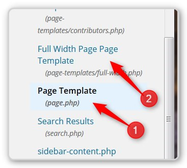 The Main Page Template and the Full-Width Template