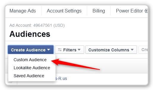 Facebook Custom AUdience Open Create Menu