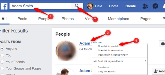 Network Marketing CRM - search in Facebook