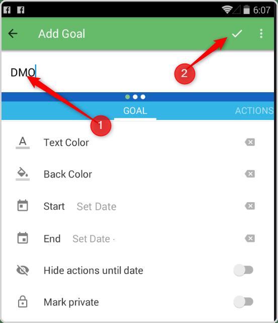 Track Your DMOs - Enter Goal Name