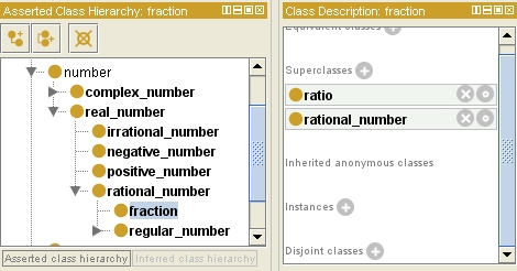 Ontology of fractions and rational numbers using Protege