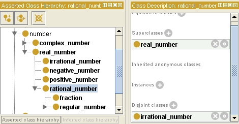 An ontology of numbers including rational and irrational numbers and fractions using Protege