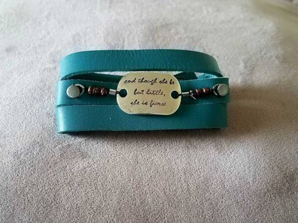 Teal Shakespeare Quote Wrap Bracelet