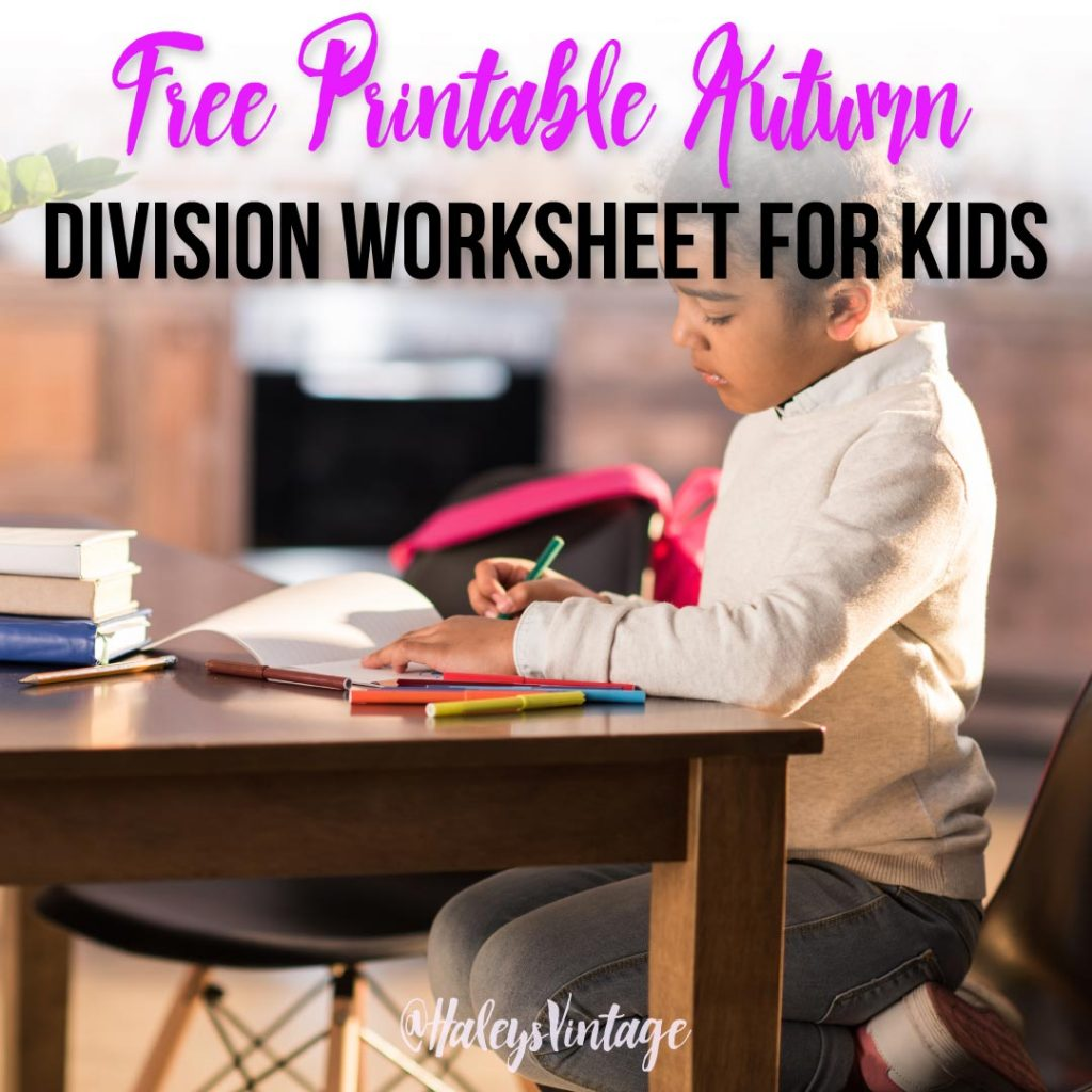 Free Printable Autumn Division Worksheet For Kids