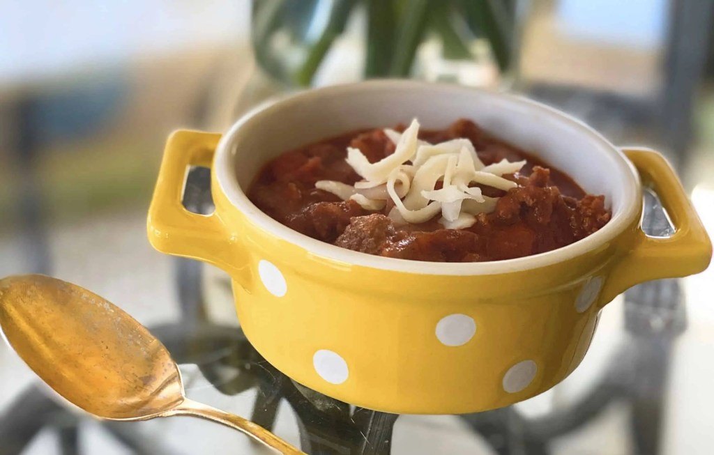 chili in yellow bowl