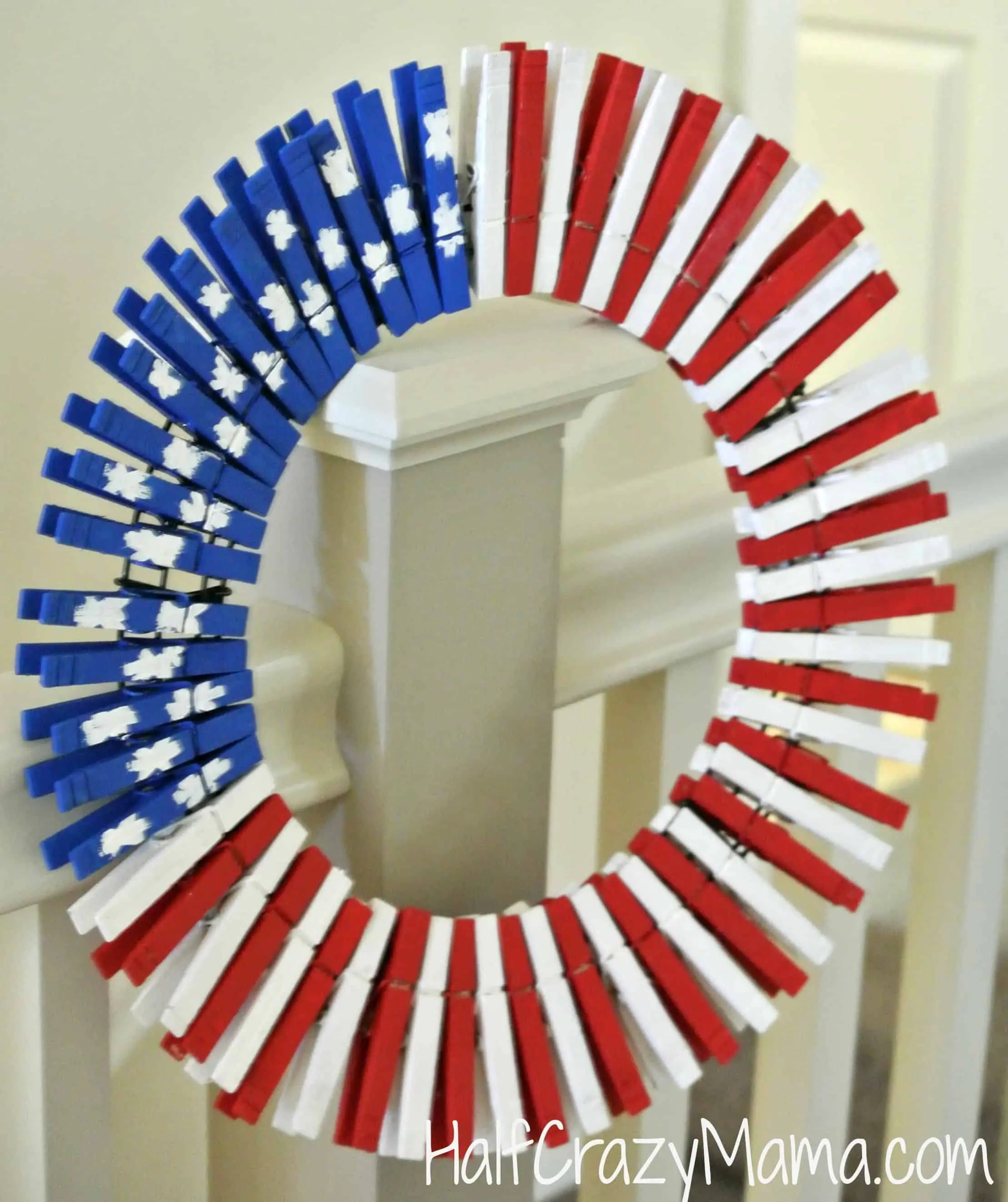 clothespin wreath banister