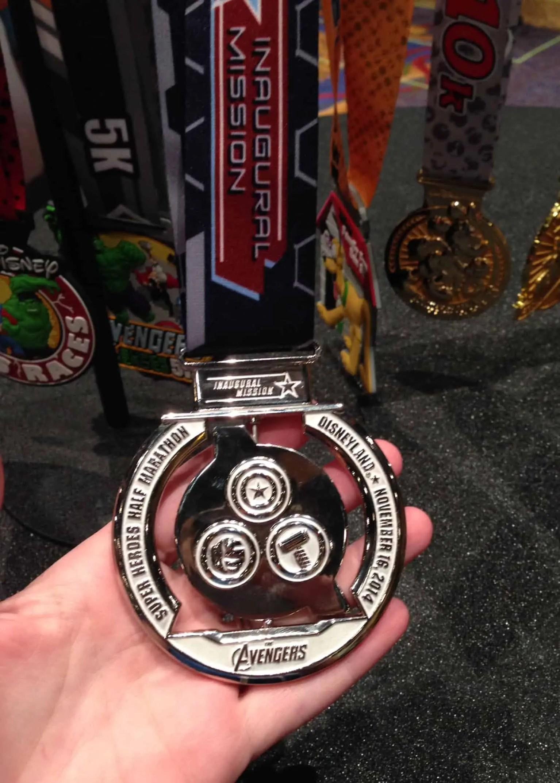 Avengers Half Marathon Medal back of the spinner