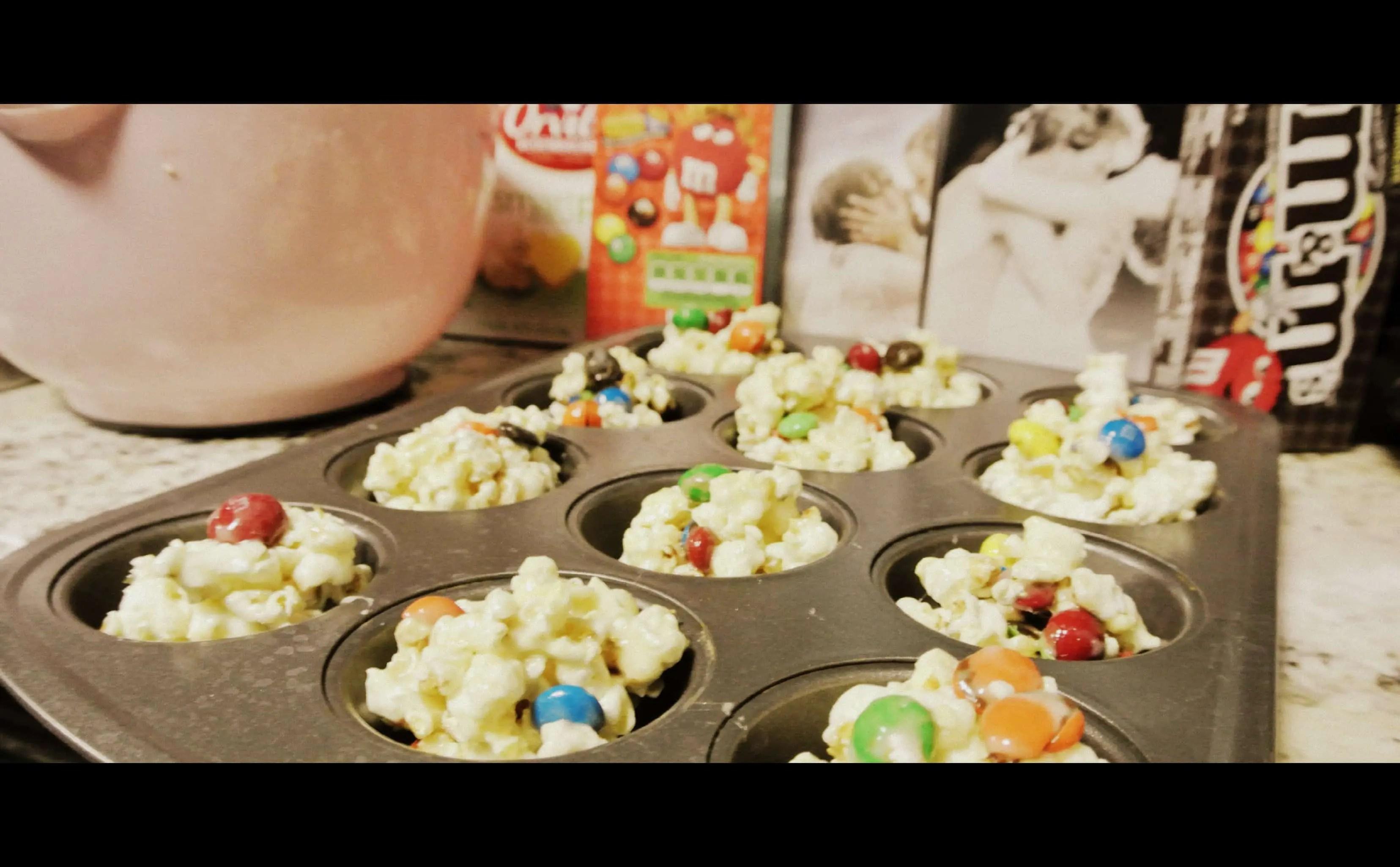 popcorn balls with M&M's