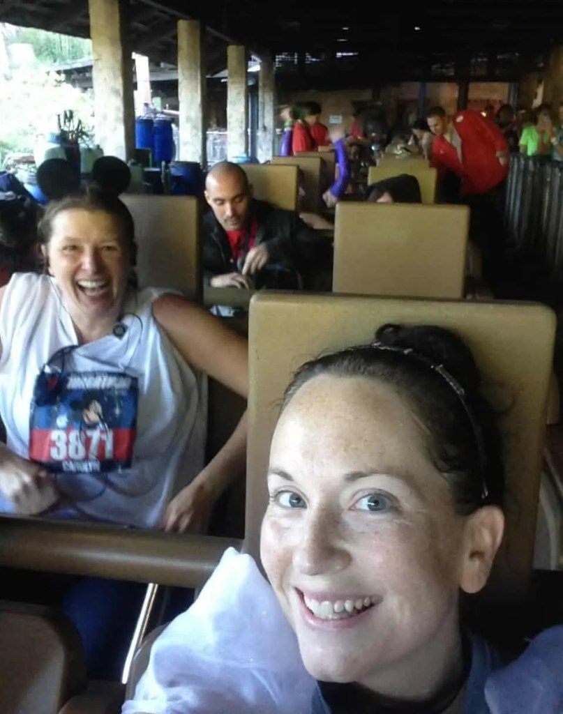 riding Expedition Everest roller coaster