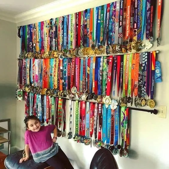 DIY Medal Display Rack | what to do with medals | medal display ideas | display case | running | runners | fitness motivation
