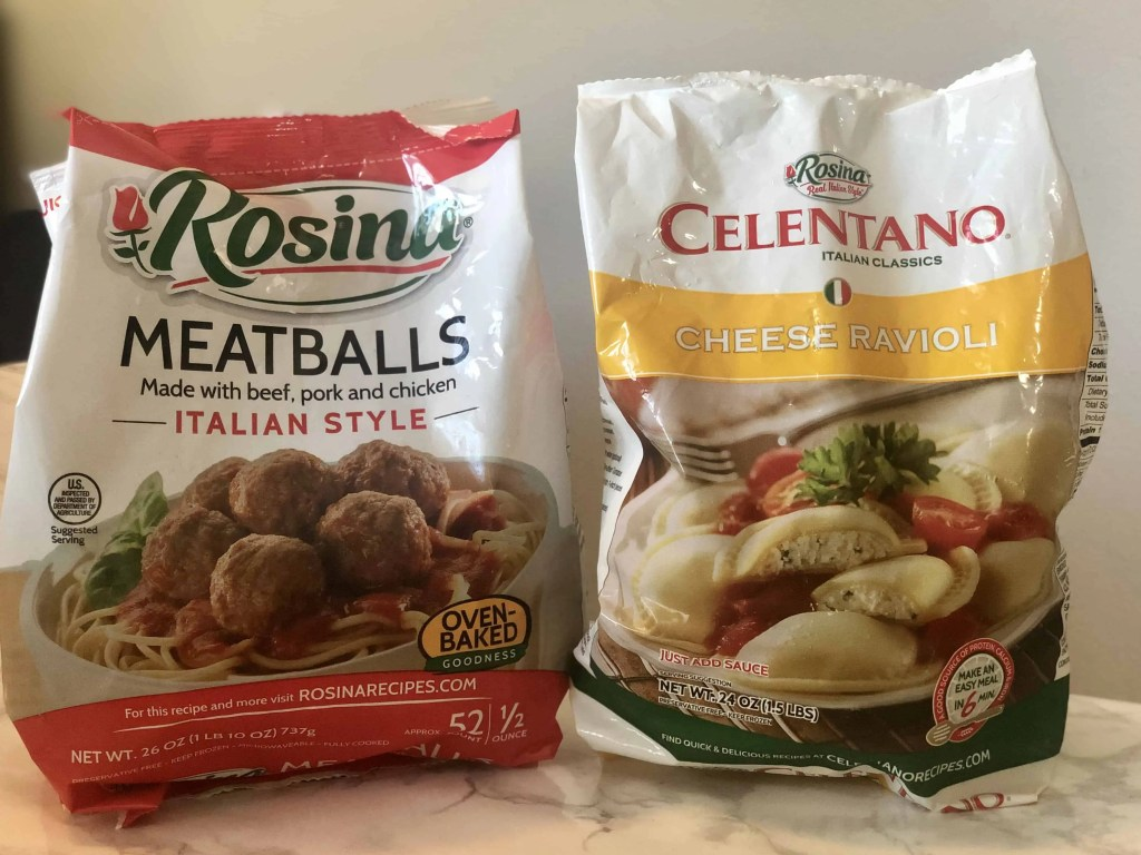 frozen meatballs and ravioli