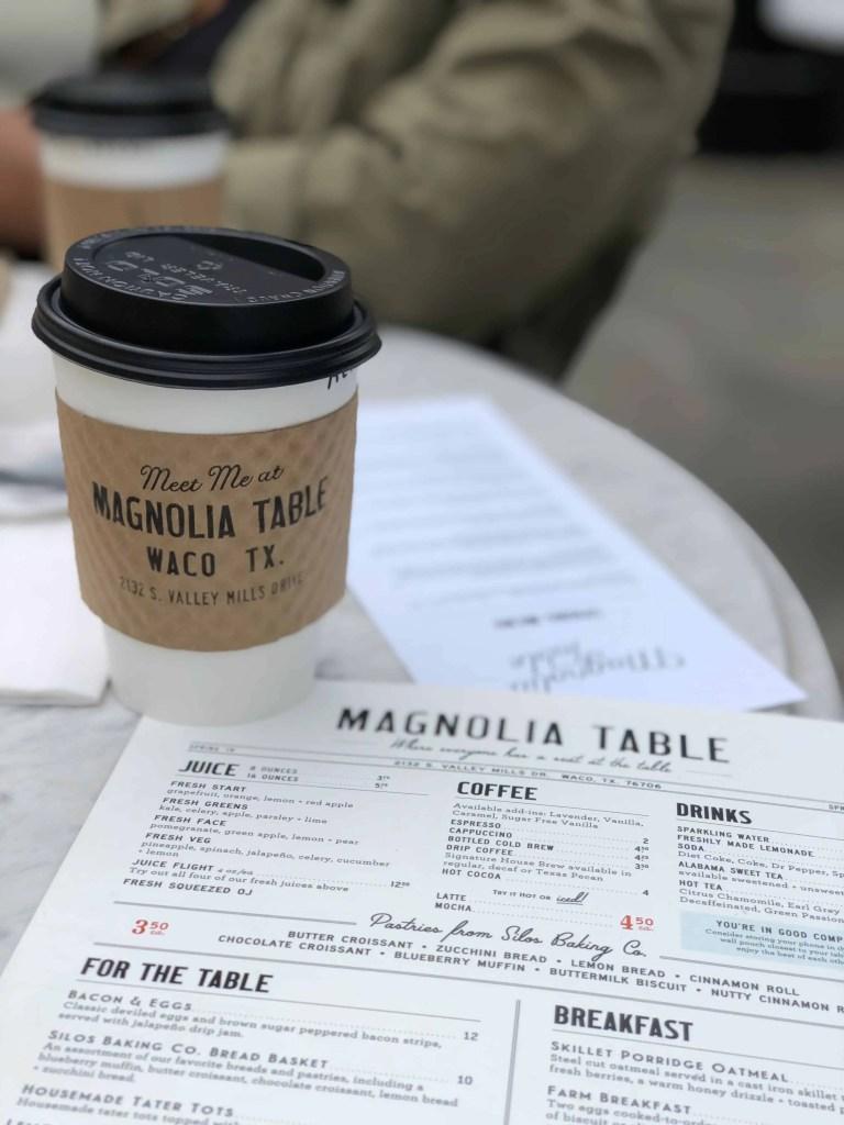 magnolia table coffee and menu
