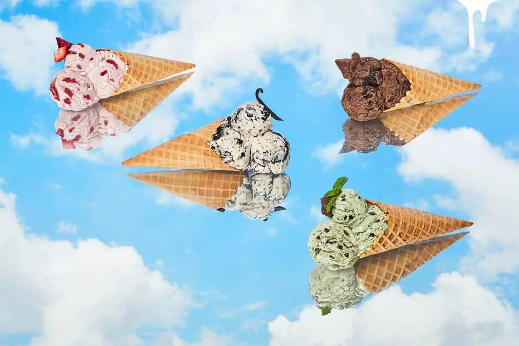 ice cream cones in the sky