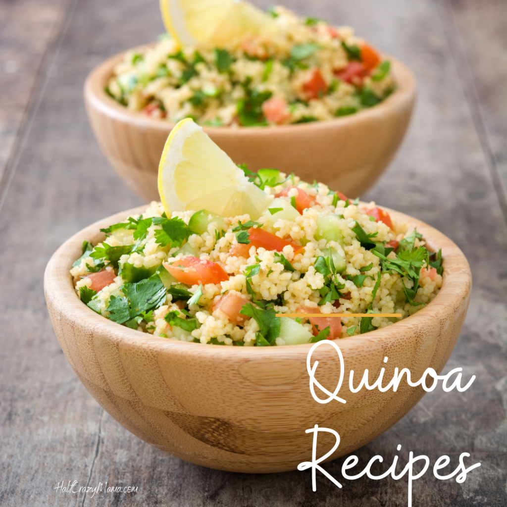 bowl of quinoa with a lemon