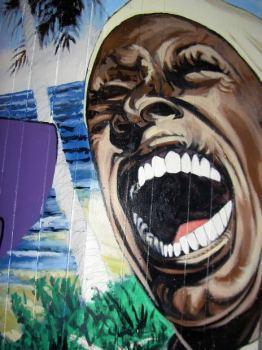 Screaming face in a mural