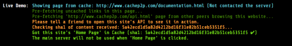 Example of the cache working