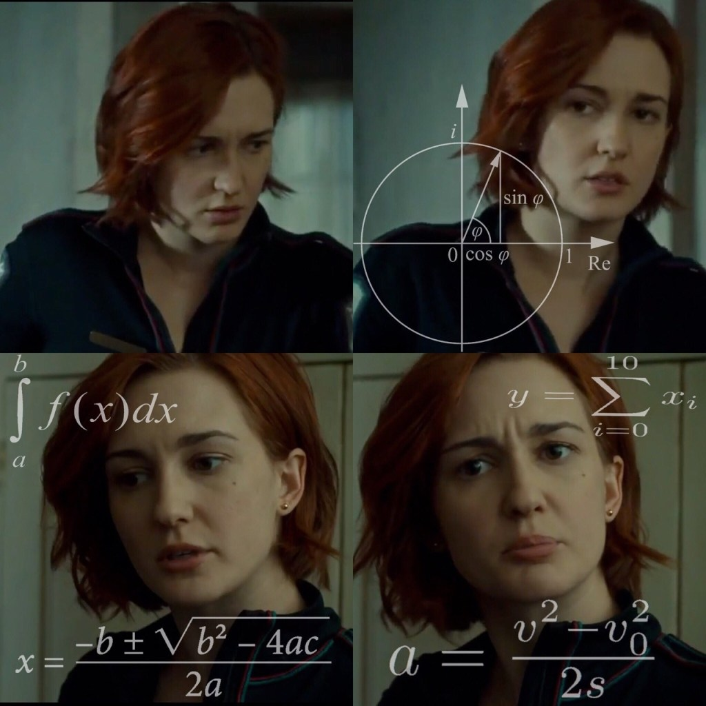 A very confused Nicole Haught, using the confused math meme format.