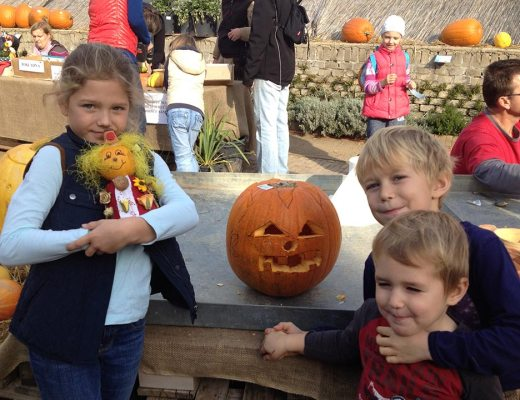 Anna, Samuel, and Oliver celebrating Halloween