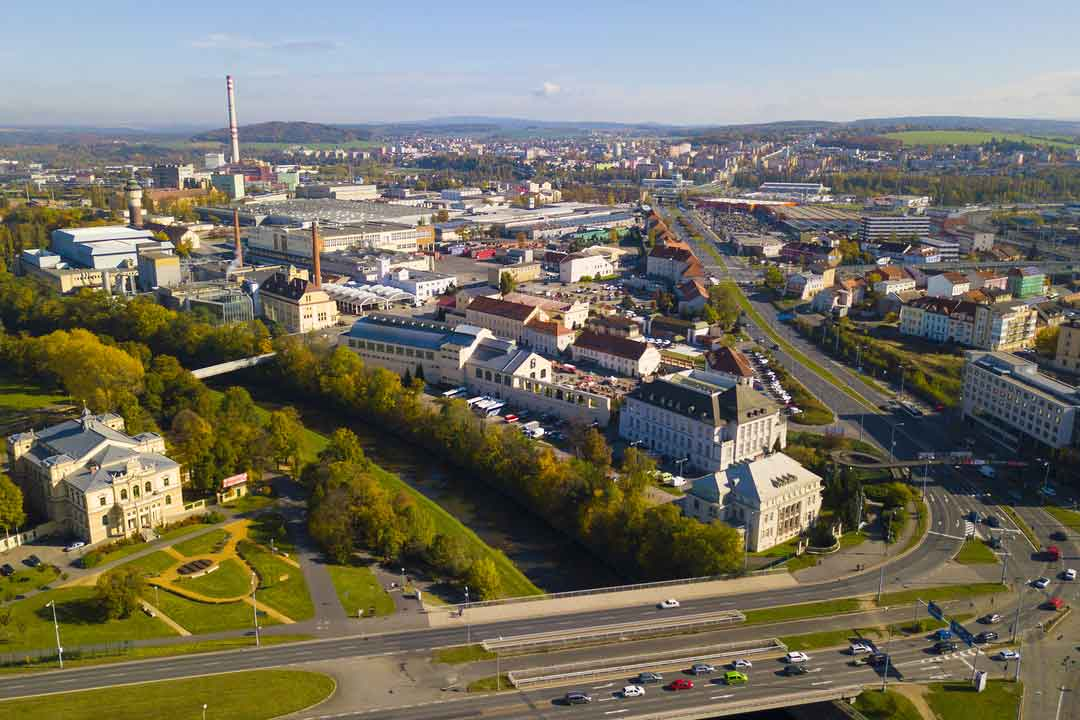 Aerial view of Pilsner brewery and historical center of Pilsen, Czech republic, European union.