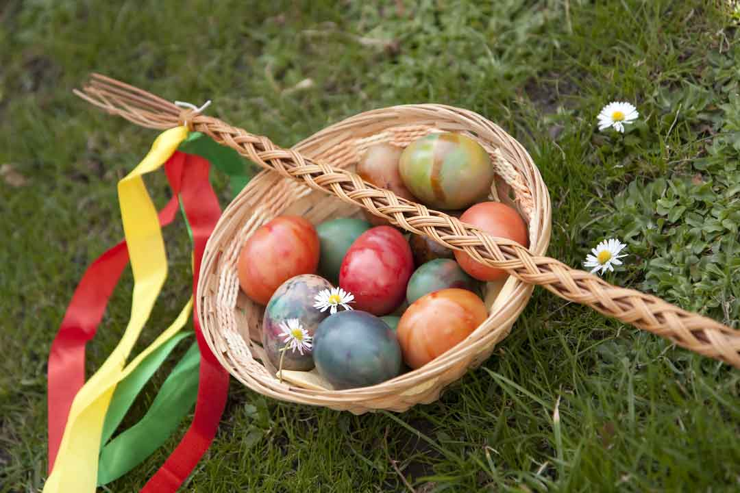 Easter stick and colorful eggs