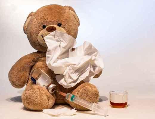 teddy bear with flu shot & tissues