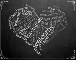 heart with welcome in lots of languages