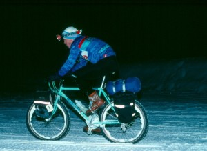Dave Zink, winner of the 1987 Iditabike in 33 hours and 50 minutes. Photo from Charlie Kelly.