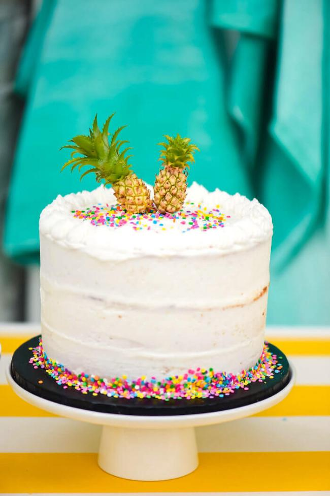 Pineapple birthday cake. So cute for a Tropical party: Luau & Hawaiian. Small World gets big with cultural party themes | Halfpint Design