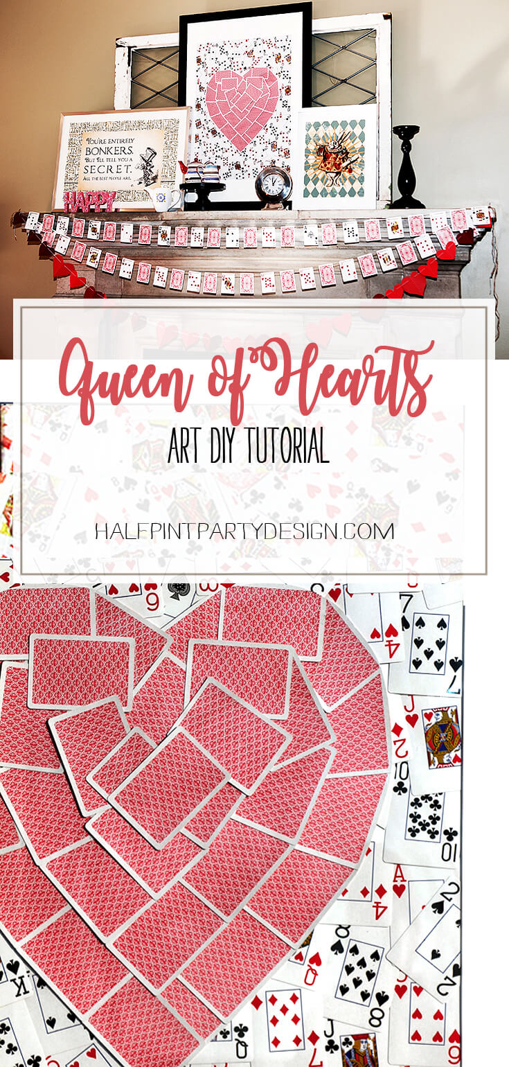 Queen of Hearts Art DIY   Halfpint Design - A fabulous centerpiece for an Alice in Wonderland, Queen of Hearts, or Valentine's party. Quick and easy to make.
