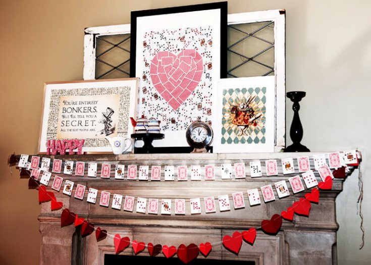 Check out how easy this Queen of Hearts art is to DIY. It's perfect for a Valentine's Mantel | Halfpint Design - Valentine's Decor, Alice in Wonderland, Mantel art, Queen of Hearts bridal shower or bachelorette party.